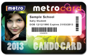 Front side of Cando card 2013